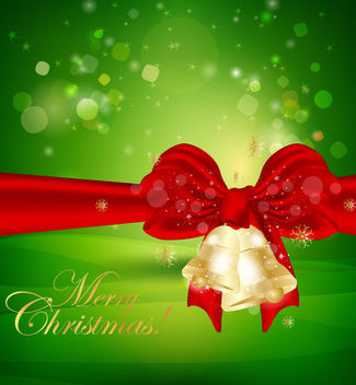 Gold Bells with Ribbon on Green Xmas Background - vector gratuit #164463