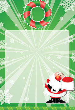 Green Xmas Card with Santa Claus & Snowflakes - Free vector #164553