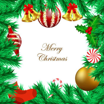 Christmas Tree Branch Frame Ornamental Card - vector gratuit #164573