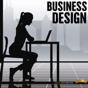 Business woman office working - Free vector #164623