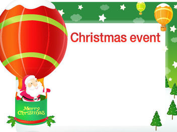 Santa Flying by a Balloon on Christmas Card - Free vector #164653