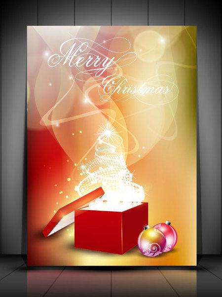 wei er weihnachtsbaum geschenkbox auf rauchigen hintergrund kostenloser vektor download 164693. Black Bedroom Furniture Sets. Home Design Ideas