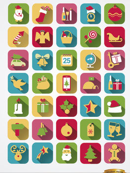 35 Colorful squared Christmas icons - Free vector #164743