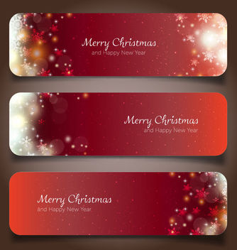 Shiny Glowing 3 Red Christmas Banners - vector gratuit #164753