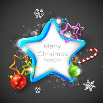 Blue Christmas Star Banner with Ornaments - vector #164773 gratis