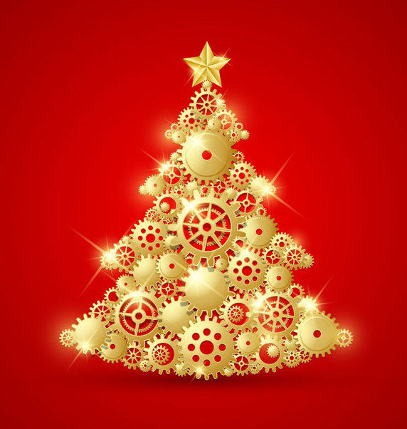 Golden Decorative Christmas Tree with Gears - Free vector #164793