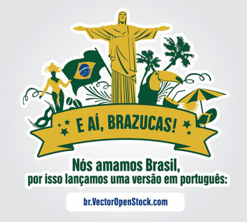 We love Brazil symbols label - vector gratuit #164813