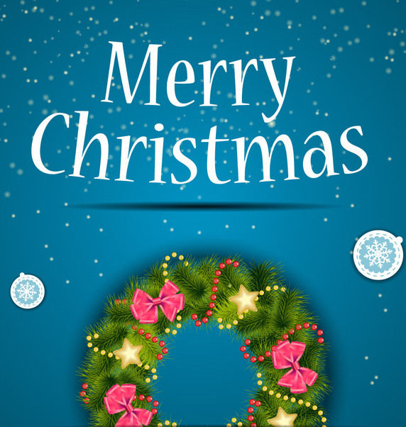 Blue Christmas Background with Decorative Wreath - Free vector #164823