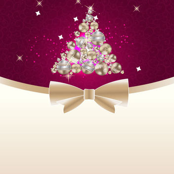 Ornamental Christmas Tree on Floral Swirls Background - vector gratuit #164843