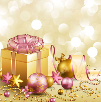 3D Gift Box & Christmas Ornaments Golden Background - Kostenloses vector #164883