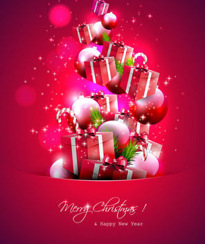 Christmas Flyer with Labeled up Ornaments - vector gratuit #164893
