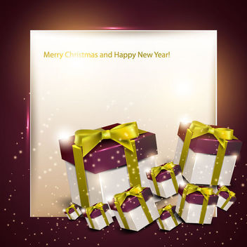 Christmas Greeting Card with 3D Gift Boxes - Free vector #164913