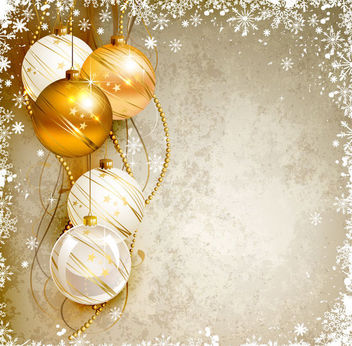 Snowflake Frame Christmas Balls Background - Free vector #164923