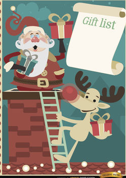 Santa Reindeer gift list background - vector #164933 gratis