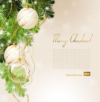 Christmas Card with Tree Branch & Ornaments - vector gratuit #164963