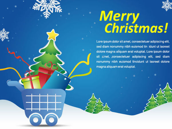 Verschneiter Weihnachts-Shopping Cart Marketing Promo - Kostenloses vector #164973
