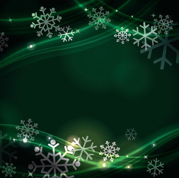 Green Fluorescent Curves with Snowflakes Background - vector gratuit #164993