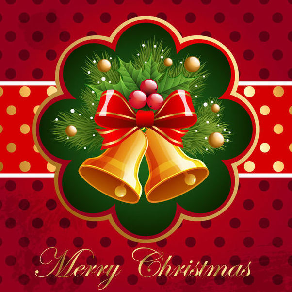 Christmas Card with Bells & Mistletoe - Free vector #165033
