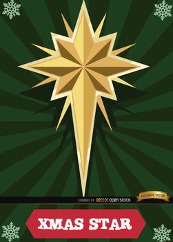 Christmas star card radial stripes - vector gratuit #165063