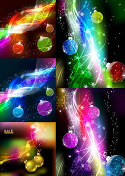 Stunning Colorful Christmas Background Set - vector gratuit #165093