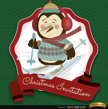 Christmas penguin invitation label - Free vector #165153