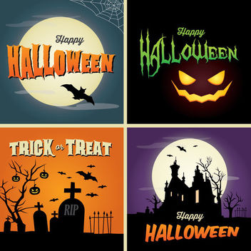 Halloween Poster Background Set - vector gratuit #165163