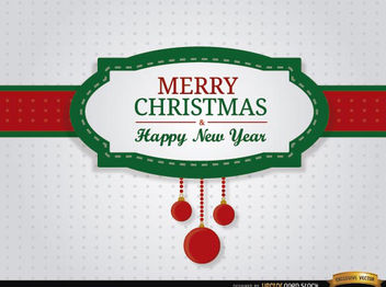 Merry Christmas riband card - Free vector #165213