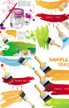 Colorful Painted Stain Set with Pouring Bucket and Brush - бесплатный vector #165373