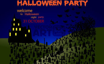 Graveyard Halloween Party with Hunted House & Tree - Free vector #165383