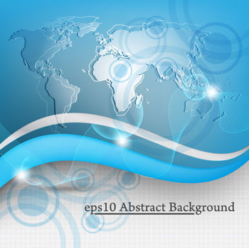 Global Technology Blue Map & Waves Background - бесплатный vector #165413