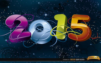 2015 Celebration in space background - Kostenloses vector #165453