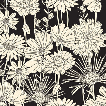 Vintage Brown Flower Seamless Pattern on Black - vector gratuit #165463