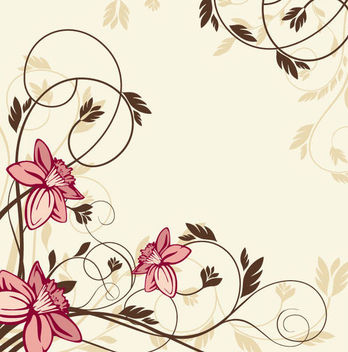 Simplistic Swirling Vintage Floral Background - vector gratuit #165473