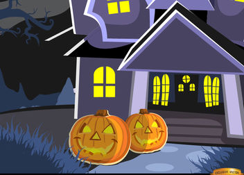 Haunted mansion and pumpkins background - vector gratuit #165543