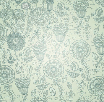Vintage Linen Floral & Birds Background - Free vector #165573
