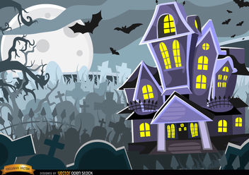 Halloween Haunted mansion graveyard background - бесплатный vector #165583