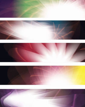 Shiny Glowing Abstract Colorful Banner Set - vector gratuit #165623