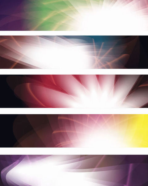 Shiny Glowing Abstract Colorful Banner Set - Free vector #165623