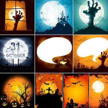 Creepy Hunted Halloween Design Set - vector gratuit #165643