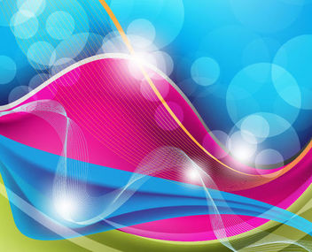 Colorful Waves, Spiral Lines, Curves & Bokeh Background - Free vector #165683