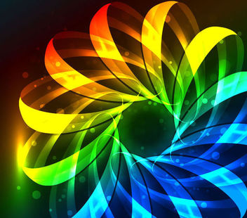 Fluorescent Colorful Floral Stripy Background - vector gratuit #165773