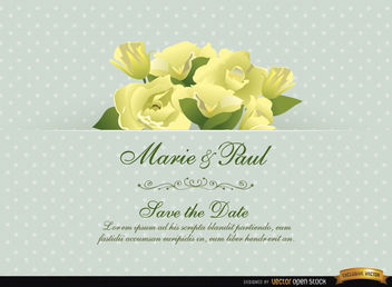 Gardenia Flower Wedding Invitation Card - Free vector #165823
