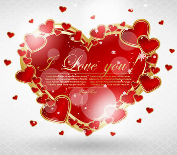Golden Rim Red Heart Valentine Card - vector gratuit #165863