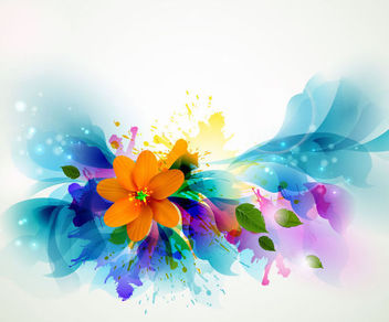 Fluorescent Colorful Floral with Grungy Stain - vector gratuit #165943