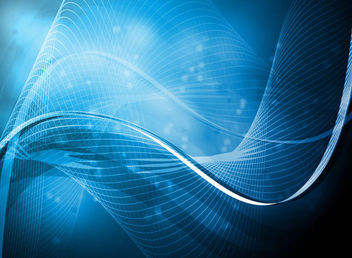 Abstract Blue Light Waves & Lines Background - Free vector #165993