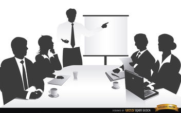 Business meeting people silhouettes - Free vector #166083