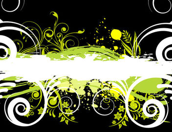Green & White Grungy Stain with Floral Swirls - vector gratuit #166143