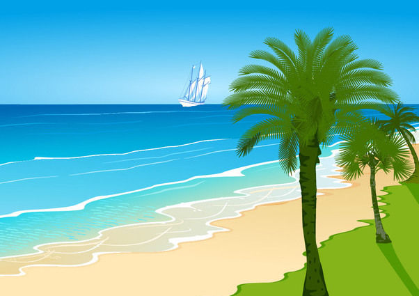 Seaside Island with Boat in the Sea - Free vector #166313