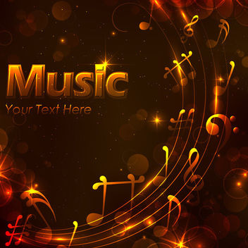 Glowing Musical Golden Night Background - vector gratuit #166333