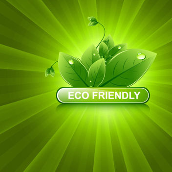 Shiny Green Sunburst with Eco Leaves - Free vector #166343